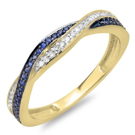 Dazzlingrock Collection 10K Round White Diamond & Blue Sapphire Stackable Wedding Band Swirl Ring, Yellow Gold, Size 9.5 ()