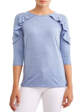 Alison Andrews Women's 3/4 Sleeve Ruffle Neck T-Shirt