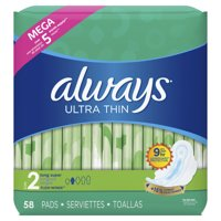 Always Ultra Thin, Size 2, Super Pads With Wings, Unscented (Choose Count)