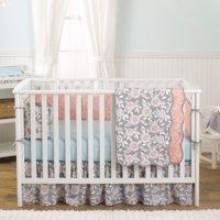 Balboa Baby 4 Piece Baby Girl Crib Bedding Set - Grey and Coral Floral Designs on 100% Cotton - Grey and Aqua Dahlia