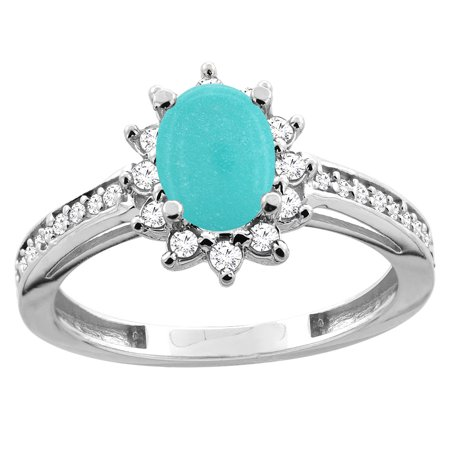 10K White Gold Diamond Natural Turquoise Floral Halo Engagement Ring Oval 7x5mm, size 5.5