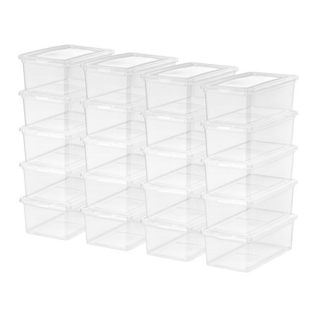 Mainstays 5 Quart/1.25 Gallon Shoe Box Storage, Clear, 20 Pack](Clear Storage Bins)