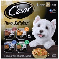 CESAR HOME DELIGHTS Wet Dog Food Pot Roast & Vegetable, Beef Stew, Turkey Potato & Green Bean, & Hearth Chicken & Noodle Variety Pack, (24) 3.5 oz. Trays