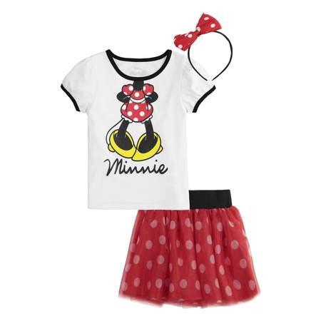 Minnie Mouse T-Shirt, Tutu Skirt, & Headband, 3pc Outfit Set (Toddler Girls)](Female Superhero Outfit)