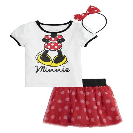 Minnie Mouse T-Shirt, Tutu Skirt, & Headband, 3pc Outfit Set (Toddler Girls)