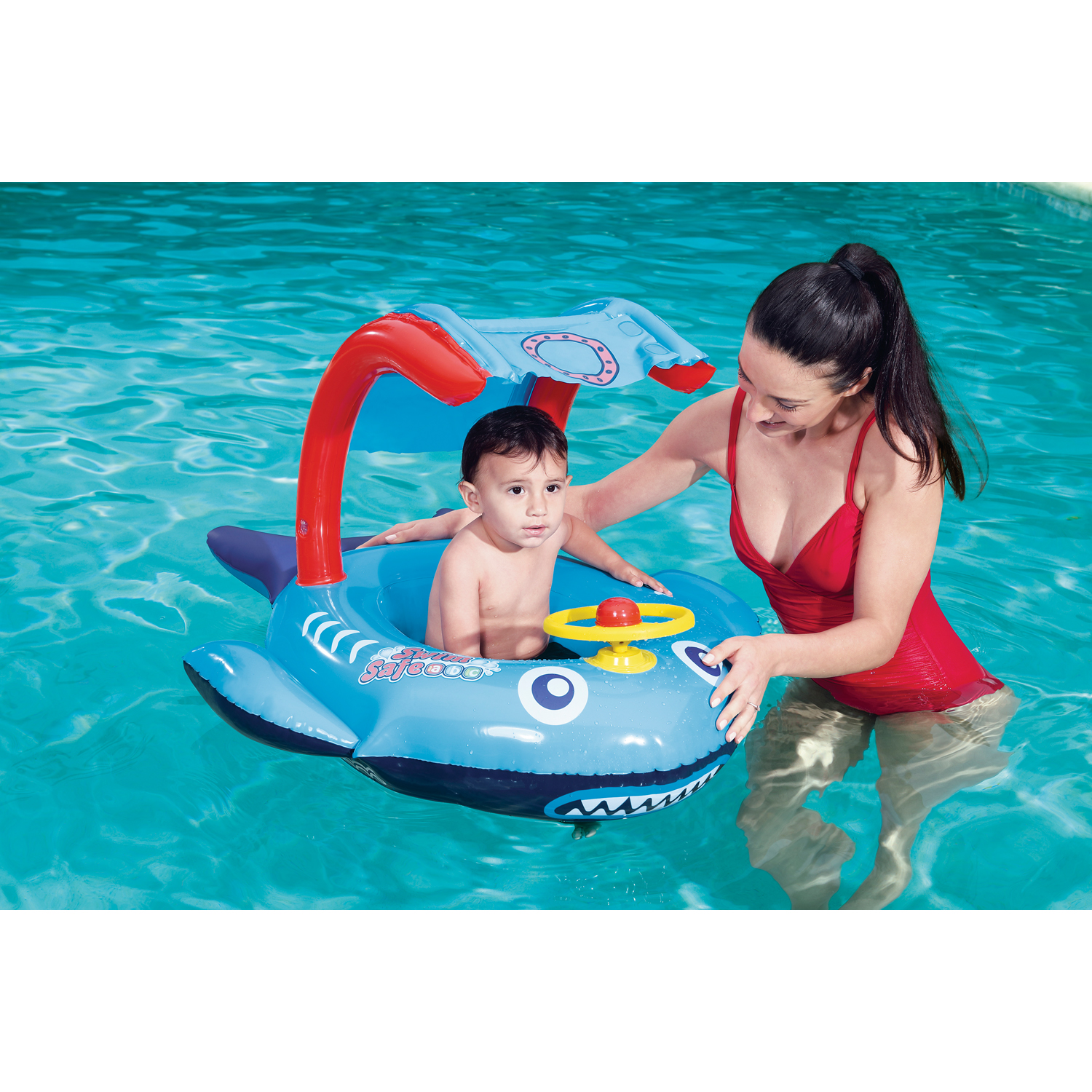 Swim Safe Playful Shark Inflatable Baby Boat  sc 1 st  Walmart : inflatable baby boat with canopy - afamca.org