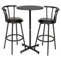 Roundhill Nor Hill 3-Piece Black Metal Height Bar Table Set with 2 Stools, 29-Inch