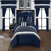 Chic Home 24-Piece Lance Complete bedroom in a bag Pinch Contemporary embroidered and quilted Queen Bed In a Bag Comforter Set Navy With sheet set