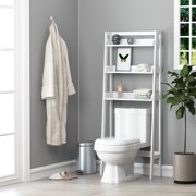 UTEX 3-Shelf Bathroom Organizer Over The Toilet, Bathroom Space saver, Bathroom Shelf, White Finish