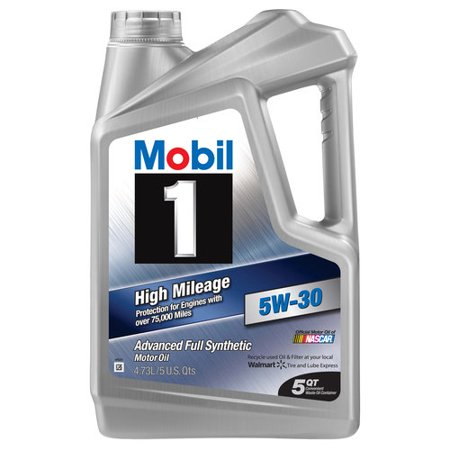 (3 Pack) Mobil 1 5W-30 High Mileage Full Synthetic Motor Oil, 5 qt.