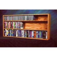 The Wood Shed Solid Oak Wall / Shelf Mount CD / DVD / VHS Tape Media Cabinet
