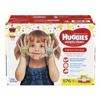 Huggies Simply Clean Baby Wipes, Unscented, 9 packs of 64 (576 ct)