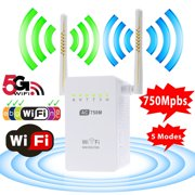 Wifi Range Extender, TSV AC750 750 Mbps Wifi Repeater Signal Booster Amplifier Dual Band 2.4GHz/5GHz with Ethernet Port Antenna 802.11 ac/b/g/n AP/Router/Repeater Mode Full Coverage