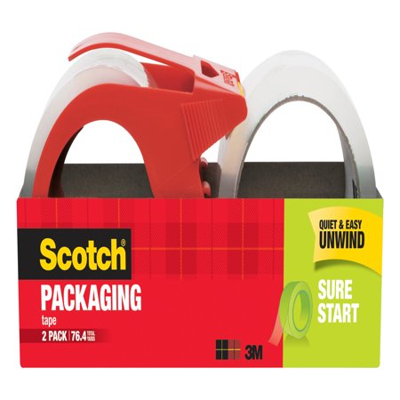 Handheld Packing Tape Dispenser (Scotch Sure Start Shipping Packaging Tape Dispenser Value Pack, 1.88 in. x 38.2 yd., 2)