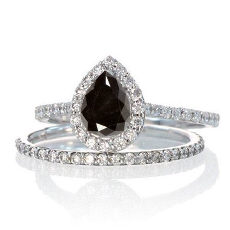 Limited Time Sale: 2 Carat Pear Cut Black and White Diamond Halo Bridal Wedding Engagement Ring Set for Woman in 10k White Gold (Womens Diamond Wedding Ring Sets)