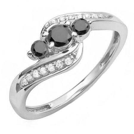Dazzlingrock Collection 0.50 Carat (ctw) 14K Round Black & White Diamond Ladies Swirl 3 Stone Bridal Engagement Ring 1/2 CT, White Gold, Size 8.5