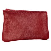 82b9009bfa Leather Zippered Coin Pouch Change Holder USA Made, Red