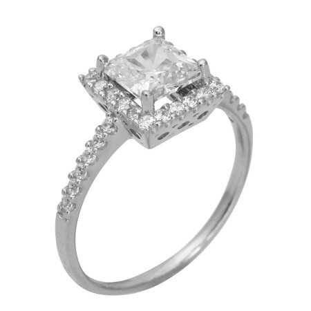 Princess Cut Pave Set - 1.75 Ct 14K Real White Gold Square Princess Cut with Round Pave Set Side Stones Illusion Halo Setting Engagement Wedding Propose Promise Ring