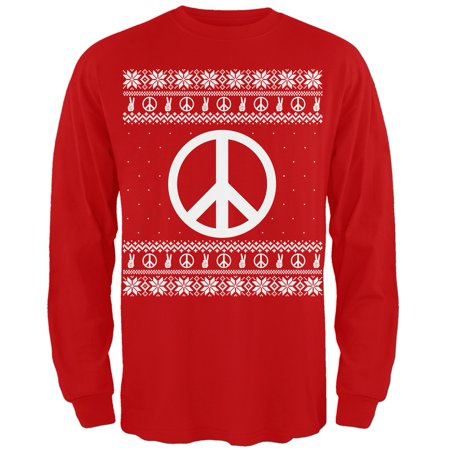 Peace Sign Ugly Christmas Sweater Red Adult Long Sleeve T-Shirt](Red Ugly Christmas Sweater)
