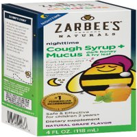 Zarbee's Naturals Children's Cough Syrup + Mucus Nighttime with Dark Honey & Ivy Leaf , Natural Grape Flavor, 4 Fl. Ounces (1 Box)