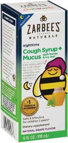 Zarbee's Naturals Children's Cough Syrup + Mucus Nighttime with Dark Honey & Ivy Leaf , Natural Grape Flavor, 4 Fl. Ounces (1