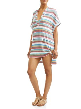 Women's Plus Retro Stripe Knotted Cover-Up