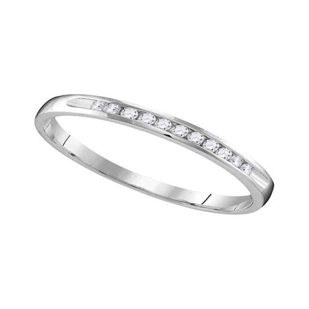 10k White Gold Womens Round Diamond Wedding Anniversary Bridal Band Ring 1/10 Cttw Diamond Fine Jewelry Ideal Gifts For Women Gift Set From Heart Anniversary Wedding Bridal Ring