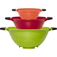 Farberware Soft Grip Set of 3 Strainers, Assorted Colors