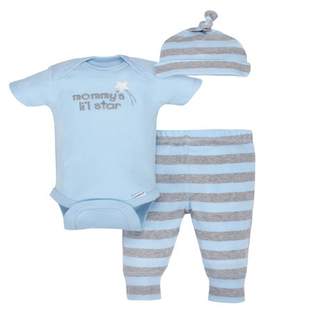 Newborn Baby Boys 2 Piece - Gerber Newborn Baby Boy Organic Take-Me-Home Outfit Set, 3pc