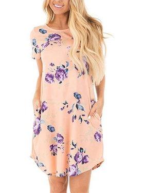 Floral Print Short Sleeve Casual Dress Summer Women Bohemian Bench Wear