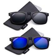 ad2ccd3aaf Newbee Fashion - Polarized Clip-On Flip Up Metal Clip Sunglasses Multi  Purpose Flash Polarized