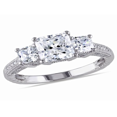 5-1/6 Carat T.G.W. Square and Round-Cut Cubic Zirconia Sterling Silver Three Stone Engagement Ring ()