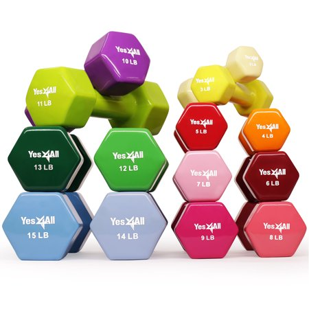 Yes4All Vinyl Coated Dumbbells - PVC Hand Weights for Total Body