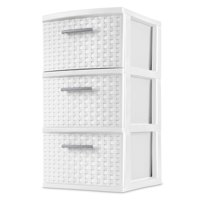 Sterilite 3 Drawer Weave Tower, White