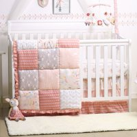 Baby Girl Crib Bedding - Forest Animal Theme - Woodland Whimsy 4-Piece Set by The Peanut Shell