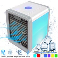 Personal Portable Air Conditioner Evaporative Cooler - Quickly Cools Any Space, 4 IN 1- Mini AC Space Cooler, Air Purifier, Humidifier & Quiet Fan For Bedroom, Desktop & Office - 7 Color LED Light