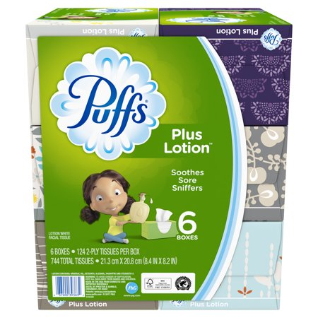 Gerald Tissue (Puffs Plus Lotion Facial Tissues, 6 Family Boxes, 124 Tissues per Box )