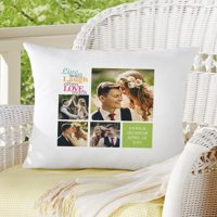 Personalized Live Laugh Love Photo Pillow, Color