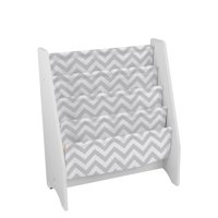 KidKraft Wooden Sling Shelf Bookcase - White and Gray Chevron Pattern - Canvas Fabric, Kids Bookshelf, Young Reader Support