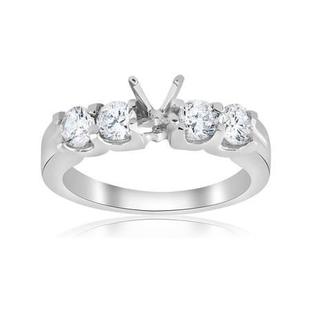 3/4ct Diamond Engagement Semi Mount Engagement Ring Setting U Prong Mounting ()