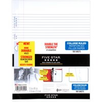 Five Star Reinforced Filler Paper, College Ruled, 100 Sheets/Pack (17175)