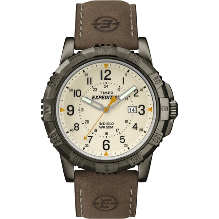 Mens Chronograph Brown Dial - Men's Expedition Rugged Metal Field Natural Dial Watch, Brown Leather Strap