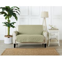 Atlantic Home Fashions Deluxe Solid Reversible Furniture Protector One Piece Couch Cover, Love Seat, Green