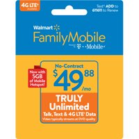 Walmart Family Mobile $49.88 TRULY Unlimited Monthly Plan & 5GB of mobile hotspot included (Email Delivery)