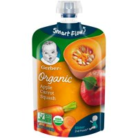 Gerber Organic 2nd Foods Baby Food, Apple Carrot Squash, 3.5 oz Pouch (Pack of 12)