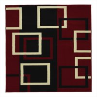 Sweet Home Stores Clifton Modern Boxes Dark Red Design Area Rug