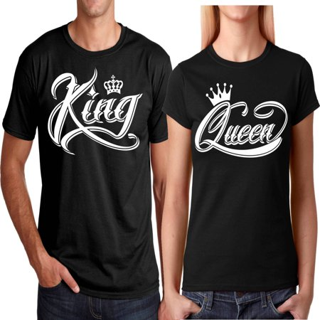 King & Queen NEW Design Valentines Christmas Gift Couple Matching Cute T-Shirts King-Black - Matching Couples Underwear