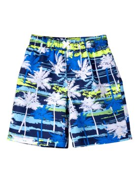 Palm Tree Print Swim Trunk (Little Boys)