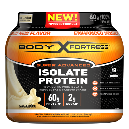 Body Fortress--Super Advanced Isolate Protein, Vanilla--Protein Powder Supplement-- Reduced Fat & Carbohydrates, --1-1.5lb. Jar