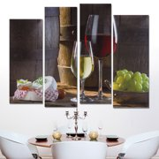 Grape Home Decor Gift Product Image Unframed Modern Art Abstract Canvas Wall Oil Painting Picture Print 4 Panel Red Wine Dessertst